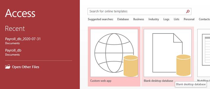 Blank desktop database.