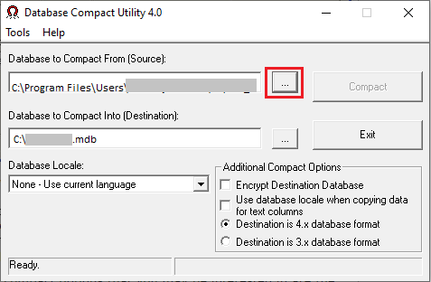 Select Database to Compact
