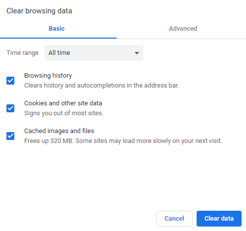 Check boxes for Browsing History, Cookies, and Cache