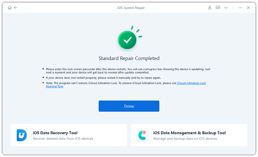 reiboot repair iphone system successfully