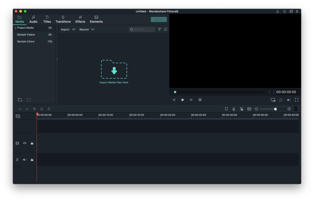 Filmora 9 empty project screenshot