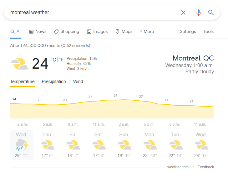 """- Last but not least: The weather display. For example, """"Montreal Weather"""""""