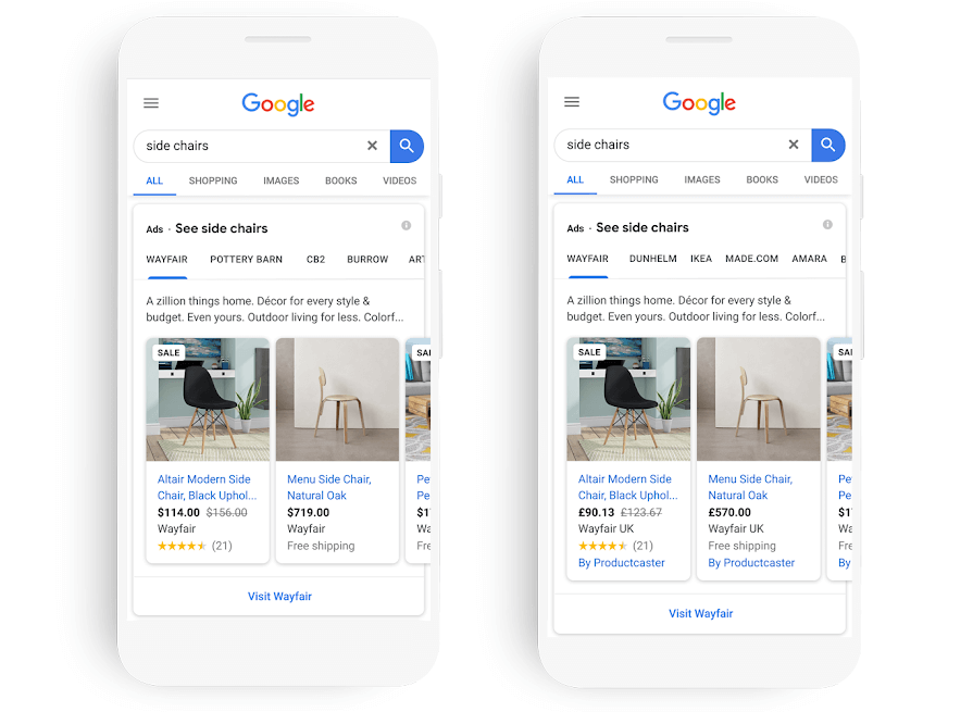 Google ads on mobile example