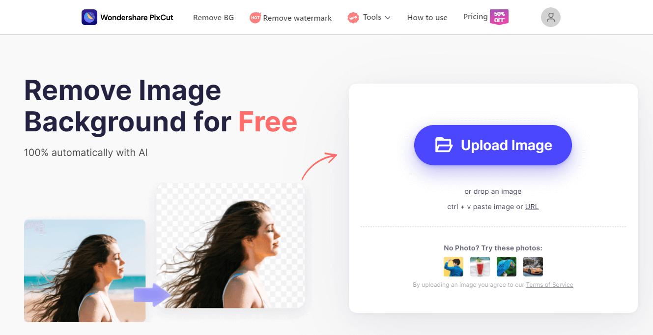 Removing Photo Background Online Using PixCut