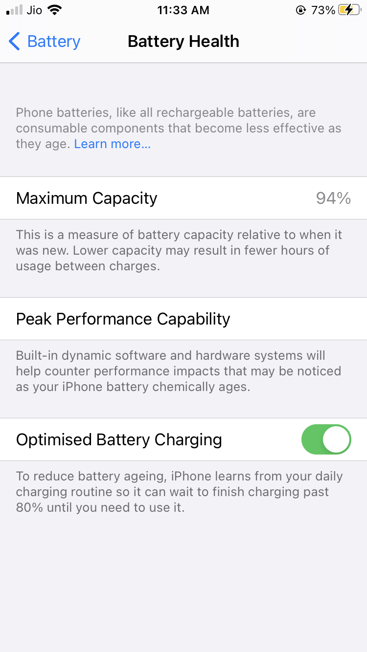 Disable Optimized Battery Charging