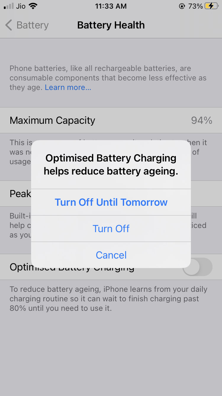 Disable Optimized Battery Charging 2
